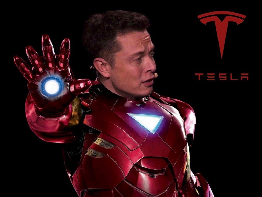 Elon Musk and Tesla as Iron Man
