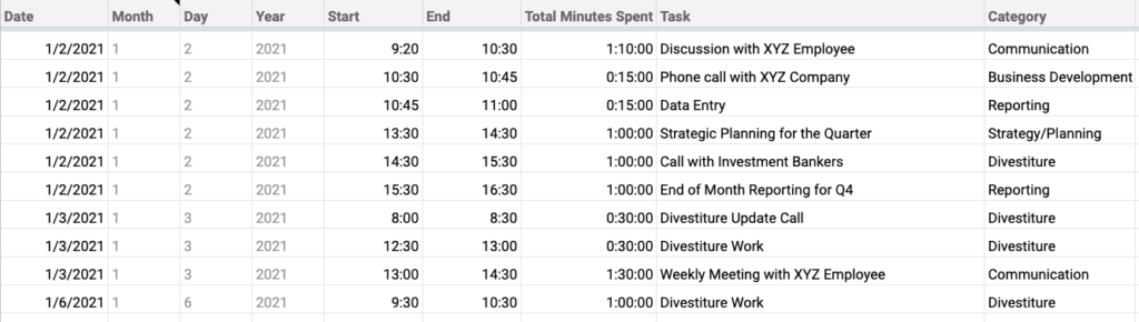 Example Time Log