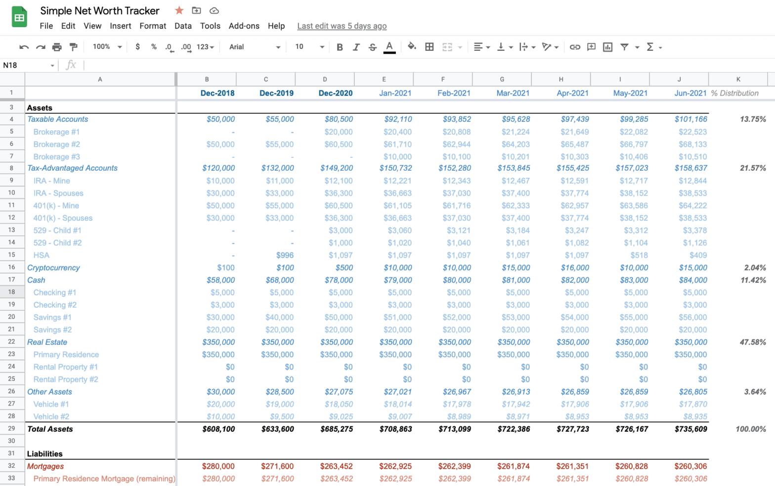 Simple Net Worth Tracker Spreadsheet
