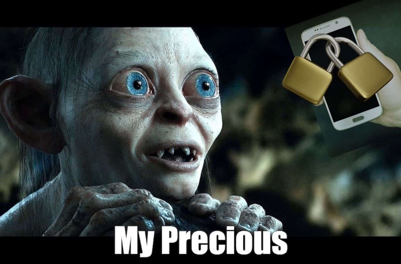 Gollum from Lord of the Rings stares lovingly at a cell phone locked away.